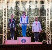 22.03.2019. Resorts World Arena, Birmingham, England. The Gymnastics World Cup 2019Aliya MUSTAFINA (RUS) takes GoldRILEY MCCUSKER (USA) takes SilverThais FIDELIS (BRA) takes Bronze