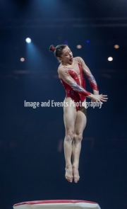 22.03.2019. Resorts World Arena, Birmingham, England. The Gymnastics World Cup 2019CAROLANN HEDUIT (FRA) during the Womens Vault.