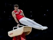 23.03.2019. Resorts World Arena, Birmingham, England. The Gymnastics World Cup 2019Christian BAUMANN (SUI) in the Mens Pommel