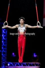 23.03.2019. Resorts World Arena, Birmingham, England. The Gymnastics World Cup 2019KAYA KAZUMA (JPN)  in the Mens Rings rotation