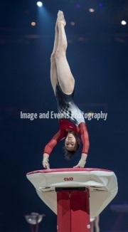 22.03.2019. Resorts World Arena, Birmingham, England. The Gymnastics World Cup 2019NAGI KAJITA (JPN) during the Womens Vault.