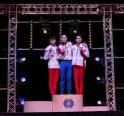23.03.2019. Resorts World Arena, Birmingham, England. The Gymnastics World Cup 2019NIKITA NAGORNYY (RUS) takes Gold.SUN WEI (CHN) takes Silver.KAYA KAZUMA (JPN) takes Bronze