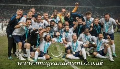 Manchester, England.10th June,2018.England X1 celebrate their win against a World X1 at Old Trafford. The England team winning on a sudden death penalty shootout. Each team of A-list celebrities and Sporting legends are fundraising for UNICEF.© Andy Gutteridge/ Image and Events/ Alamy Live News