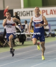 11.02.2017. EIS, Sheffield, England. The British Athletics Indoor team trials 2017. Richard Kilty (Middlesborough) eases to victory in heat 5 of the Mens 60 meters. Also pictured Chris Stone (Bristol & West). Kilty was disqualified in the final.