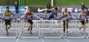 11.02.2017. EIS, Sheffield, England. The British Athletics Indoor team trials 2017. Andrew Pozzi (Stratford-upon-Avon) winning heat 3 of the Mens 60 Meters hurdles. Edirin Okoro (Birchfield Harriers) finished second. Gianni Frankis finished third. Also shown Cameron Fillery and Jack Major.