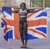 11.02.2017. EIS, Sheffield, England. The British Athletics Indoor team trials 2017. Asha Philip celebrates her victory in the Womens 60 meters final.