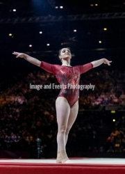 22.03.2019. Resorts World Arena, Birmingham, England. The Gymnastics World Cup 2019ALIYA MUSTAFINA (RUS) during the Womens floor witha  score that secured Gold