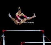 22.03.2019. Resorts World Arena, Birmingham, England. The Gymnastics World Cup 2019Elissa Ellie Downie (GBR) during the Womens uneven bars with a score of 10.50