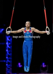 23.03.2019. Resorts World Arena, Birmingham, England. The Gymnastics World Cup 2019Joe Fraser (GBR)  in the Mens Ring Competition