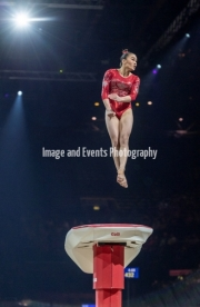 22.03.2019. Resorts World Arena, Birmingham, England. The Gymnastics World Cup 2019LEAH GRIESSER (GER) during the Womens Vault.
