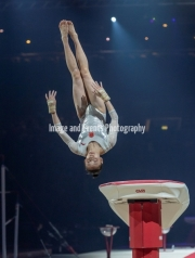 22.03.2019. Resorts World Arena, Birmingham, England. The Gymnastics World Cup 2019LIU JIEYA (CHN) during the Womens Vault.
