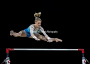 23.03.2019. Resorts World Arena, Birmingham, England. The Gymnastics World Cup 2019Riley McCusker (USA) during the uneven bars, scoring 14.40 and finishing with the Silver Medal overall.