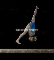 23.03.2019. Resorts World Arena, Birmingham, England. The Gymnastics World Cup 2019Riley McCusker (USA) on the beams, scoring 12.166 and finishing with the Silver Medal overall.