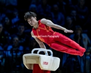 23.03.2019. Resorts World Arena, Birmingham, England. The Gymnastics World Cup 2019SUN WEI (CHN)  in the Mens Pommel Competition