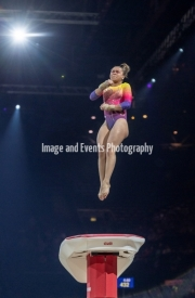 22.03.2019. Resorts World Arena, Birmingham, England. The Gymnastics World Cup 2019THAIS FIDELIS (BRA) during the Womens Vault.