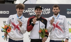 15.06.2019. Lee Valley White Water Centre, London, England. The Canoe Slalom World Cup 2019Mens Canoe Podium MC1Gold Medal Sideris Tasiadis GER (Centre)Silver Medal Adam Burgess GBR ( Left)Bronze Medal Ryan westley GBR ( Right)