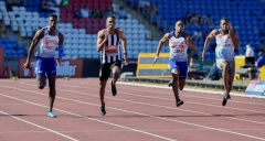 30.06.2018. Alexander Stadium, Birmingham, England. The British Athletics Championships 2018.Reece Prescod wins the 100m final in 10.06 seconds ahead of Zharnel Hughes (2nd) and Chijindu Ujah (3rd) and Nethaneel Mitchell-Blake (4th)