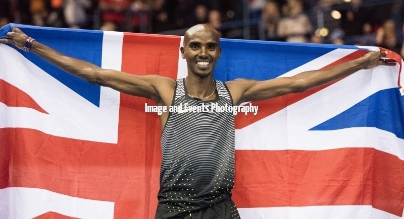 Sir Mo Farah celebrates after setting new British Record Birmingham 18th Feb 2017