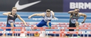 Andrew Pozzi winning the 60 meter hurdles in a time of 7.43 at the Barclaycard Arena, Birmingham, England. The Muller Indoor Grand Prix.