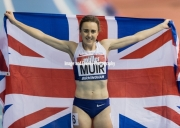Laura Muir celebrates her victory at Barclaycard Arena, Birmingham, England. The Muller Indoor Grand Prix.18.02.2017