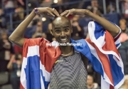 Sir Mo Farah celebrates his indoor record in the 5000 meters with his famous Mobot at Barclaycard Arena, Birmingham, England. The Muller Indoor Grand Prix.