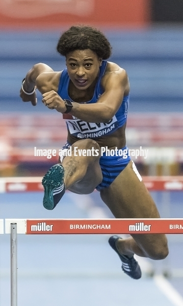 Sharika Nelvis (USA) winning her heat in the 60 meter hurdles at the Barclaycard Arena, Birmingham, England. The Muller Indoor Grand Prix.